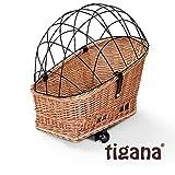 Tigana - Hundefahrradkorb für Gepäckträger aus Weide Natur 60 x 39 cm mit Metallgitter + Kissen (N-S)