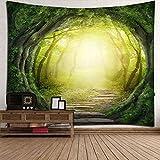 RLF LF Nature Tapestry Sun Scheint Durch Fantasy Fairy Forest Trails Natur Landschaft Wandbehang Tapisserie von RLF.LF,Green,200Cm*180Cm