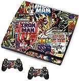 The Grafix studio Comics Superhelden-Sticker/Skin PS3Playstation Slimline Konsole und Fernbedienung Controller Aufkleber, psk8