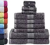 10 tlg. FROTTIER HANDTUCH-SET mit verschiedenen Größen 4x Handtücher, 2x Duschtücher, 2x Gästetücher, 2x Waschhandschuhe | Farbe: Anthrazit grau | PREMIUM Qualität