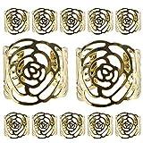 12 Stück Serviettenringe Set,KAKOO Metal Rose Morderne Serviettenhalter für Hochzeit Geburtstag Weihnachten Taufe Tisch Dekoration (golden)