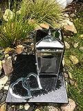 Or Grablaterne und Zwei Herzen aus Edelstahl inklusive Granitsockel 25cm x 25cm x 5cm Schwarz Lampe mit Sockel und Relief Herzen