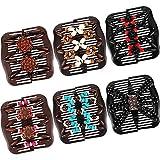 6 Stücke Perlen Haarkämme Magie Elastische Haarspangen Dehnbar Kamm Doppel Clips für Damen Mädchen Haarschmuck (10,5 x 9,2 cm, Farbe Set 2)