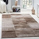 Designer Teppich Modern Wohnzimmer Teppiche Kurzflor Karo Meliert Braun Beige, Grösse:200x280 cm
