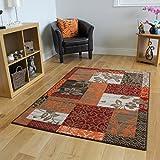 Patchwork Teppich, in Braun, Rot, Orange, Beigen & Creme, in 5 Größen erhältlich
