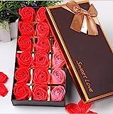 VanseRun 18 Stücke Rosen-Duftseifen in Geschenk-Box, Konservierte Rosenduft Steigung-Farben-Badeseife Rose in Geschenkbox Bestes Geburtstags-Valentinstag-Geschenk (Rot)