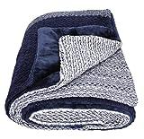 Betz Luxus Kuscheldecke Wohndecke XXL MONACO Größe 150x200 cm Farben Beige, Grau, Blau Farbe blau