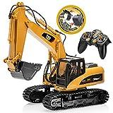 Top Race 15 Kanal Voll Funktionale Fernbedienung Bagger Bau Traktor, Bagger Spielzeug mit 2,4 Ghz Transmitter 2 in 1 mit auswechselbaren schaufel TR-215/211