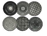 ARD'TIME Komaé Teller, Keramik, Schwarz/Weiß, 6 Stück, Keramik, Mehrfarbig, 9,3 x 9,3 x 2,5 cm