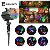 LED Projektor | infinitoo 15 Austauschbare Muster und 4 Farben Licht Effekt für Innen-/Außenbeleuchtung, Wand Dekoration und Gartenlicht, Ideale Beleuchtung für Festen, Allerheiligen, Weihnachten