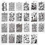 Ewparts 23 Stück PP Plastik Zeichnung Malerei Schablonen Skala Vorlage Sets, für Scrapbooking DIY Alben Zubehör, Karte und Handwerk Projekte