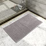 Lifewit Rutschfeste Badematte 50x80cm Badteppich aus Mikrofaser Chenille Teppich für Badezimmer Grau