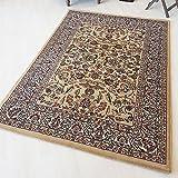 Moderner Orient Teppich Klassisch gemustert Vintage Orientalischer Design Kurzflor dicht gewebt qualitativ in Beige (40 x 60 cm)