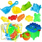 Bramble 13er Sandspielzeug Set - ideales Strandspielzeug & Buddelspielzeug für Sandkasten & Strand - mit PVC Tasche