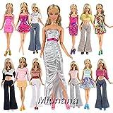 Miunana Fashion 10 modische Partymoden Urlaubstag Kleidung Kleider Outfit Sets mit 10 Schuhe für Barbie Puppen Doll Geschenk
