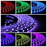 Salcar 5m RGB LED Strip LED Streifen mit 300 LEDs (SMD5050), 16 Farben auswählbar, inkl. 24 Tasten IR-Fernbedienung, Controller und 12V 60W Netzteil