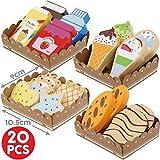 BeeSmart - Spielzeug aus Holz enthält 20 Stück in der Serviertablett, Spiel-Lebensmittel aus Holz für Kaufladen oder Spielküche