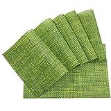 Platzdeckchen - Meersee Hitzebeständige Rutschfest Tischsets schmutzabweisend Abwaschbar Platzsets PVC Platzmatten 6-er Set (Grün)