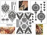3 Bögen Henna TATTOO SCHWARZ Black Dream Fake Flash Tattoo Aufkleber