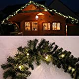 Tannengirlande grün 8,1 m mit 120 LED beleuchtet Weihnachtsbeleuchtung außen von Gartenpirat