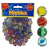 ARSUK Glasmurmeln, Spielzeug, Deko Kugeln Durchsichtig Klare Glasmurmeln, Dekoration Glaskügelchen bunt (Katzenauge Murmeln, 100 Stück)