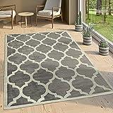 Designer Teppich Marokkanisches Muster Kurzflorteppich Modern Trend Grau Weiß, Grösse:80x150 cm