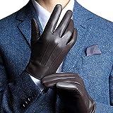 Harrms Herren Winter Lederhandschuhe aus Echtem Leder Touch Screen Gefüttert aus Kaschmir,Braun M (mit Geschenk Verpackung)