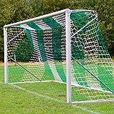 Fußballtornetz 7,5 x 2,5 m Tiefe oben 0,80 / unten 2,00 m, zweifarbig, PP 4 mm ø, grün / weiß