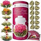 Teabloom Herzförmiger Blütentee - Geschenk-Set mit 12 zusammengestellten Blühenden Teeblumen - Grüner Tee + Jasmin, Granatapfel, Erdbeere, Rose, Litchi & Pfirsich