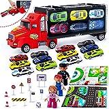 Auto Spielzeug Kinder LKW Truck Tragbarer mit 12 Autos und 3 Puppen 2 Karten 9 Verkehrsschild für 3 4 5Jahre Gutes Geschenk