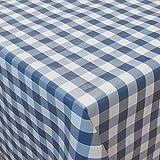 Partytischdecke 80 x 250 cm Blau Weiss kariert gefaltet