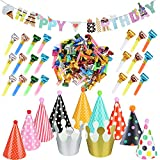 1 Pcs Girlande Happy Birthday Banner Dekoration 100 Pcs Luftrüssel Lufttröte Pfeife 11 Stück Partyhüte Party Kegel Hüte Kinder Geburtstag Kronen Kinder Geburtstagparty Zuhör Spiele Partyartikel Set