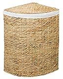 Eck-Wäschebehälter TINA M aus Wasserhyazinthe Natur, Wäschekörbe Wäschesammler Wäschebehälter Wäschetruhe Aufbewahrungsbox mit Deckel Aufbewahrungskiste Aufbewahrungstruhe Wäschetruhe