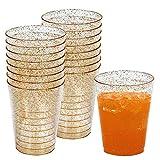 50 Einwegbecher 300 ml aus Plastik mit Gold Glitzer - Ideale Becher für Bier und andere Kaltgetränke- für Party, Camping, Geburtstag, usw.