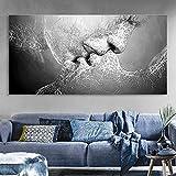 Wandbild Prints, essort Leinwand Malerei, Schwarz und Weiß Love Kiss Kunstdruck Bild für Wohnzimmer, Schlafzimmer, Restaurant, Hotel Decor, 100*60cm