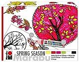 Marabu 0406000000124 - Window Color Set Spring Season abziehbare Farbe für Fenster, Spiegel, Fliesen, Komplettset mit Farbe, Folie und Malvorlage