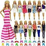 ZITA ELEMENT 10 Stück Kleider Kleidung Puppensachen Mode Urlaubstag Kleider für Barbie Puppen Handgefertigte Puppenkleidung Puppen Outfits Zubehör Kostüm 5 Kleidung mit 5 Paar Schuhen