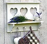 Küchenregal Wandregal Regal für Küche mit Ablage und 3 Haken - Weiß - aus Holz - 3 Herzen - Landhausstil - 43x30cm