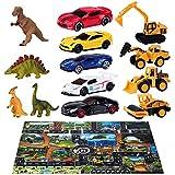 Joyjoz Spielzeugauto mit Aufbewahrungsbox 40pcs, inklusive 12 Dinosaurier Spielzeuge, 5 Cars Spielzeug, 4 Baufahrzeuges, 18 Verkehrsschilder und 1 Spielmatte , Auto Geschenkset für Kinder