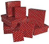 Out of the blue 101630 Geschenkkartonage mit weißen Punkten, 8-er Set, circa 22,5 x 22,5 x 8 cm, rot
