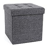 Songmics LSF27Z Sitzhocker mit Stauraum faltbar Sitzwürfel Fußbank leinen 38 cm dunkelgrau