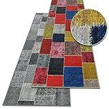 Teppichläufer Monsano | Patchwork Muster im Vintage Look | viele Größen | moderner Teppich Läufer für Flur, Küche, Schlafzimmer | Niederflor Flurläufer, Küchenläufer | anthrazit Breite 80 cm x Länge 300 cm