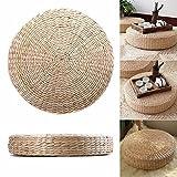 UxradG Gewebtes Bodenkissen, gewebt, Gras, handgefertigt, Strohgewebe, Yogamatte, rund, geflochten, 40 x 6 cm