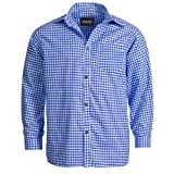 Trachtenhemd für Trachten Lederhosen Freizeit Hemd blau-kariert L