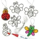 Kleine Suncatcher-Anhänger aus Acrylglas zum Aufhängen und Dekorieren - Insekten - Käfer - Biene - für Kinder zum Basteln (12 Stück)