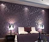 HANMERO Europa reg;Wandwelt Mustertapete Umweltschutz Europa Bersilbern Sofa Fernseher Hintergrund Nahtlos 3D Style Geprägt Relief Vliestapete 0,7*8,4m 4 Farben für Wohnzimmer Livingroom (Lila)
