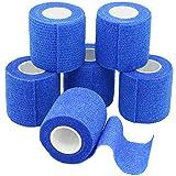 6 Rollen Selbsthaftende Bandage, Wundverband, Sport Elastischer Verband, 5cm x 4.5m - Blau