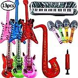 SWZY Aufblasbare Rock Star Toy Set-13 Stück aufblasbare Party Props-3 Aufblasbare Gitarre,4 Mikrofone,3 Beth,1 Saxophon,1Tastatur Klavier Und Luftpumpe Für Party Favors Ballons Zufällige Farbe