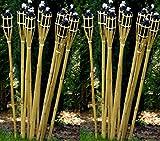 12 Gartenfackel Bambusfackel 90cm Holzfarben mit Docht & Tank Bambusfackeln Gartendekoration Fackel Gartenfackeln Hochzeit Dekoration Öllampen