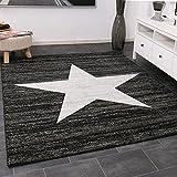 Trendiger Kurzflor Teppich Design Stern Meliert in Schwarz 120x170 cm